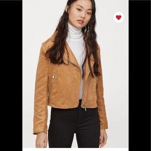 Moto faux suede leather biker jacket sz 2 like new